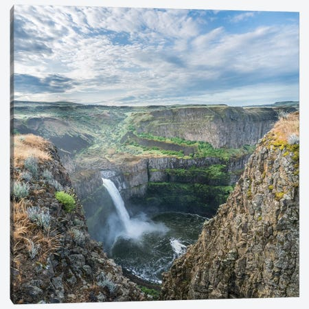 USA. Washington State. Palouse Falls in the spring, at Palouse Falls State Park. 3-Piece Canvas #GLU16} by Gary Luhm Canvas Wall Art