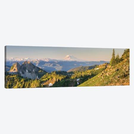 USA. Washington State. Panorama of Mt. Adams, Goat Rocks and Double Peak 3-Piece Canvas #GLU17} by Gary Luhm Canvas Wall Art