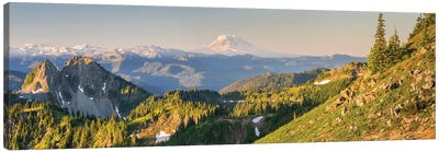 USA. Washington State. Panorama of Mt. Adams, Goat Rocks and Double Peak Canvas Art Print