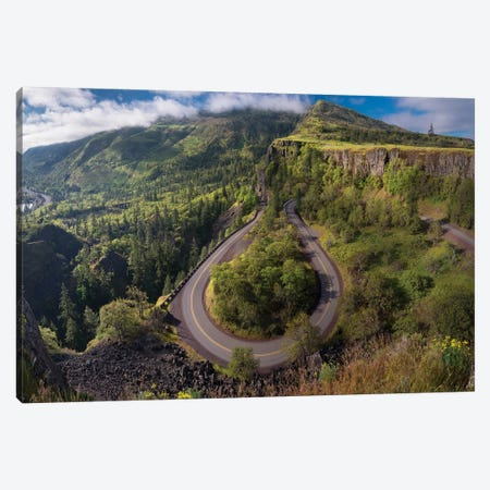 Oregon. Twisting, curving Historic Columbia River Highway (Hwy 30) below the Rowena Plateau 3-Piece Canvas #GLU18} by Gary Luhm Art Print