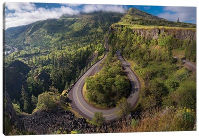Oregon. Twisting, curving Historic Columbia River Highway (Hwy 30) below the Rowena Plateau Canvas Art Print