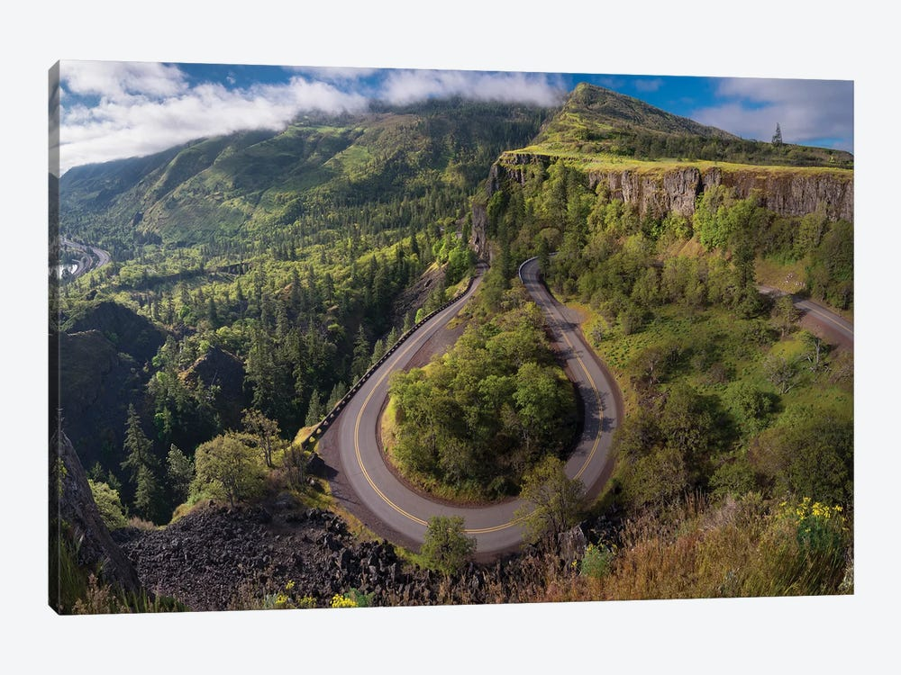 Oregon. Twisting, curving Historic Columbia River Highway (Hwy 30) below the Rowena Plateau by Gary Luhm 1-piece Canvas Art