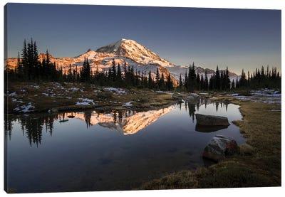 USA, WA. Tarn in Spray Park reflects Mt. Rainier at sunset in Mt. Rainier National Park. Canvas Art Print
