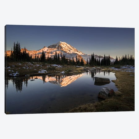 USA, WA. Tarn in Spray Park reflects Mt. Rainier at sunset in Mt. Rainier National Park. Canvas Print #GLU29} by Gary Luhm Canvas Wall Art