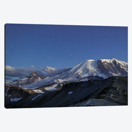 WA. Twilight shot of stars over Mt. Rainier, Little Tahoma and Burroughs Mountain Canvas Print #GLU40} by Gary Luhm Canvas Wall Art