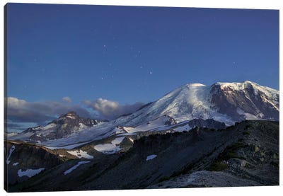 WA. Twilight shot of stars over Mt. Rainier, Little Tahoma and Burroughs Mountain Canvas Art Print