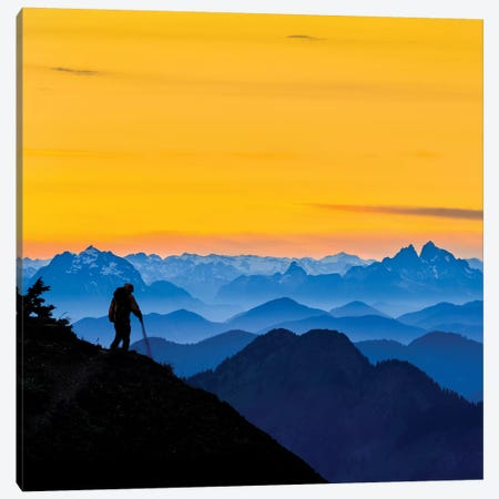 USA, Washington State. A backpacker descending from the Skyline Divide at sunset. Canvas Print #GLU7} by Gary Luhm Canvas Print