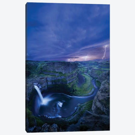 USA, Washington State. Palouse Falls at dusk with an approaching lightning storm Canvas Print #GLU8} by Gary Luhm Canvas Artwork