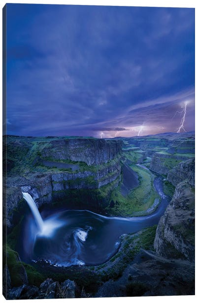 USA, Washington State. Palouse Falls at dusk with an approaching lightning storm Canvas Art Print