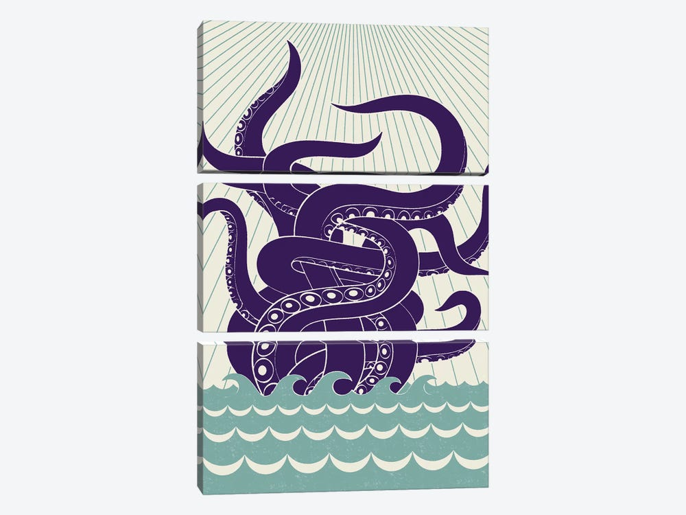 Sea Monster 3-piece Canvas Art Print