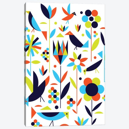 Birds & Flowers Canvas Print #GMA18} by Greg Mably Canvas Artwork