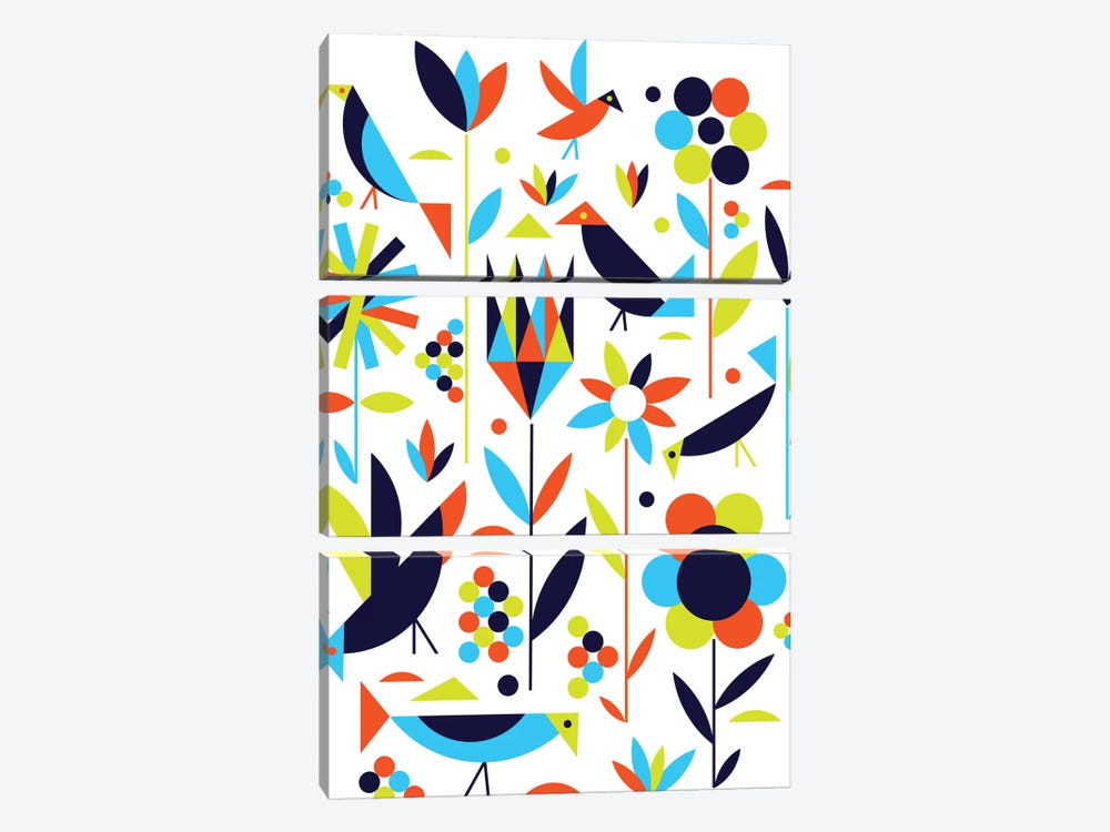 Birds & Flowers by Greg Mably 3-piece Canvas Art