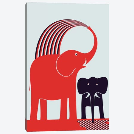 Red Elephant Canvas Print #GMA3} by Greg Mably Canvas Art