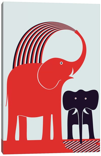 Red Elephant Canvas Art Print