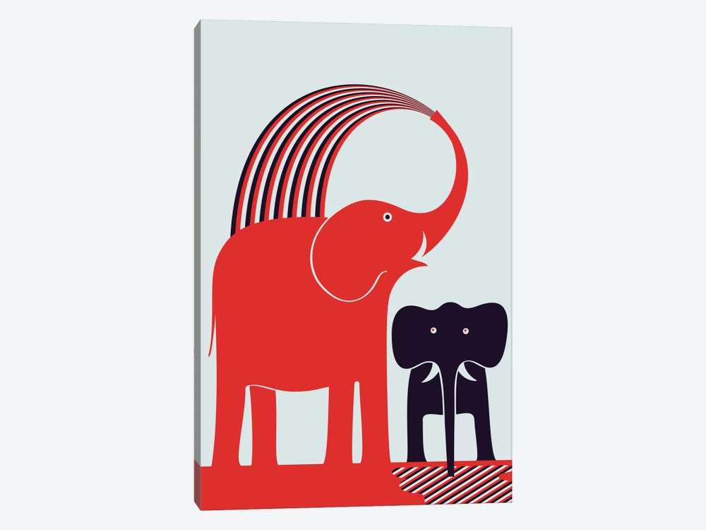 Red Elephant by Greg Mably 1-piece Canvas Artwork
