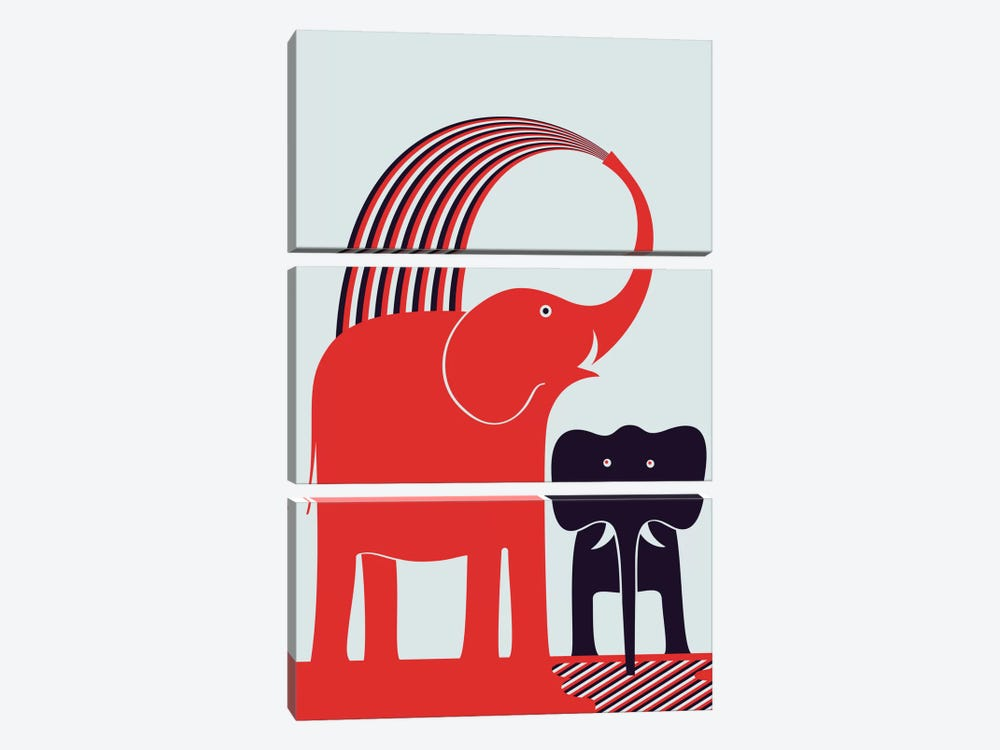 Red Elephant by Greg Mably 3-piece Canvas Art