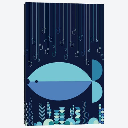 Fish & Hooks Canvas Print #GMA4} by Greg Mably Art Print