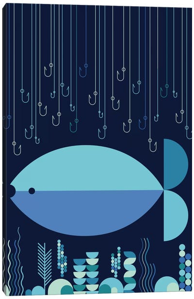 Fish & Hooks Canvas Art Print