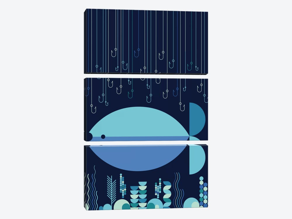Fish & Hooks by Greg Mably 3-piece Canvas Print