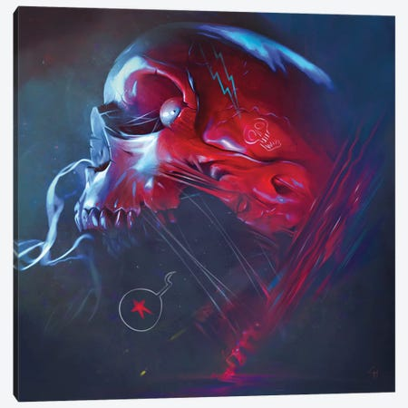 Star Skull Canvas Print #GMT9} by Gianluca Mattia Canvas Artwork