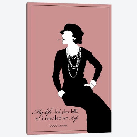 Coco Chanel In Rose Canvas Print #GND37} by GNODpop Canvas Wall Art