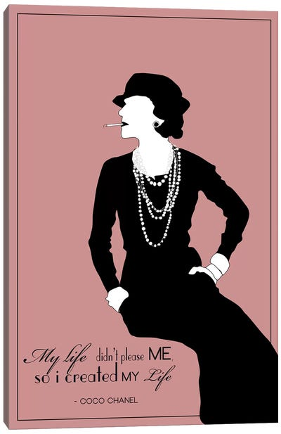 Coco Chanel In Rose Canvas Art Print