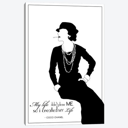Coco Chanel In White Canvas Print #GND38} by GNODpop Art Print