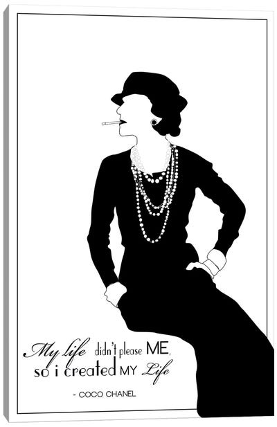 Coco Chanel In White Canvas Art Print