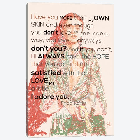 Frida Khalo - I Adore You Canvas Print #GND40} by GNODpop Canvas Artwork