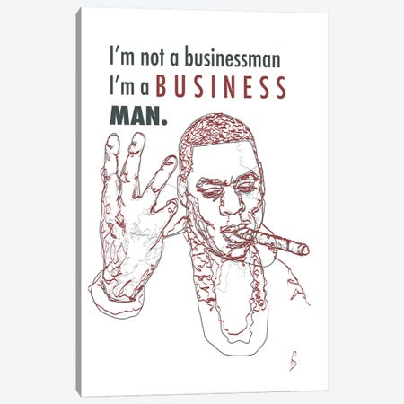 Jay-Z - Business Man Canvas Print #GND43} by GNODpop Canvas Wall Art