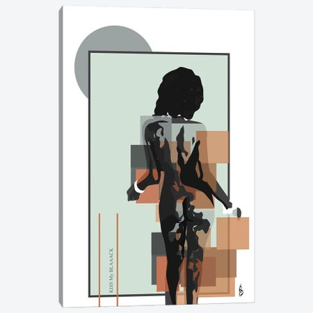 Kiss My Blaaack Canvas Print #GND52} by GNODpop Canvas Print