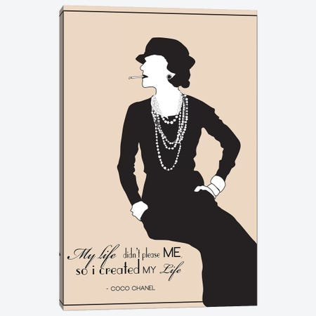 Coco Chanel Canvas Print #GND8} by GNODpop Canvas Art