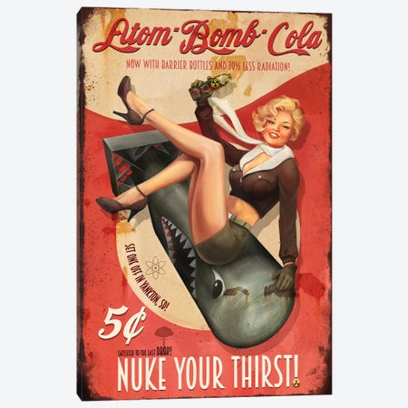 Atom Bomb Cola Canvas Print #GOA2} by Steve Goad Canvas Art