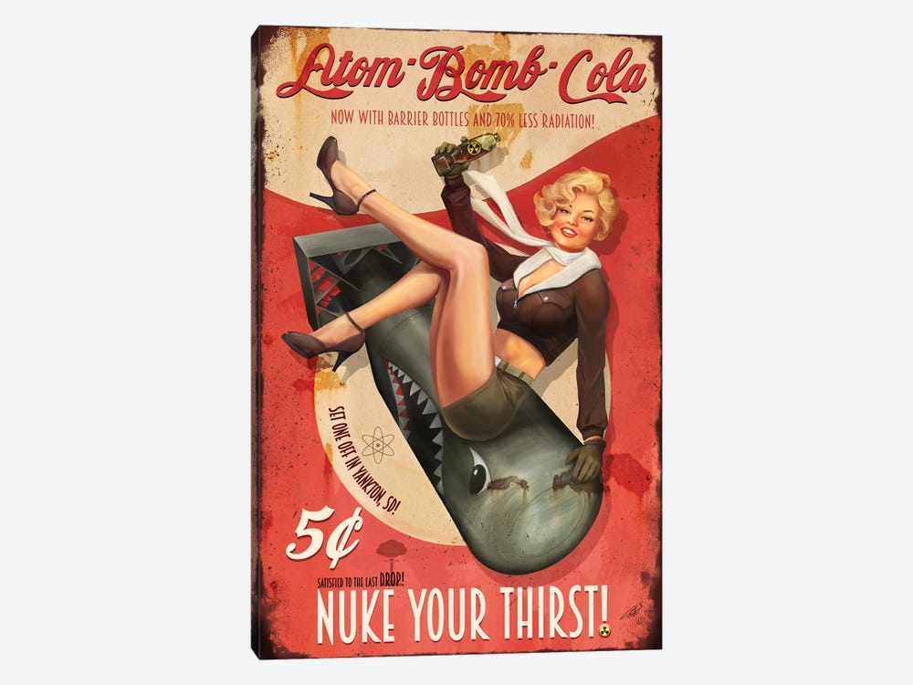 Atom Bomb Cola by Steve Goad 1-piece Canvas Wall Art