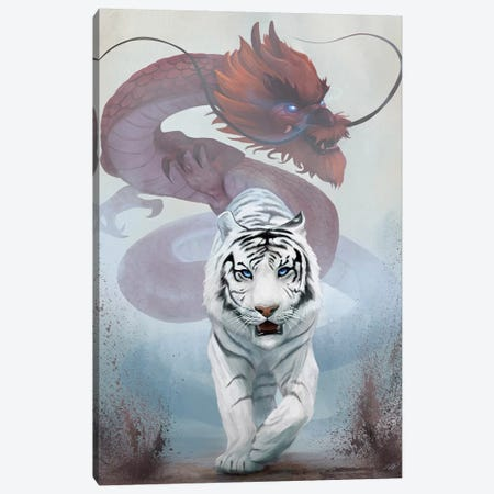 The Tiger And The Dragon Canvas Print #GOA30} by Steve Goad Canvas Art Print