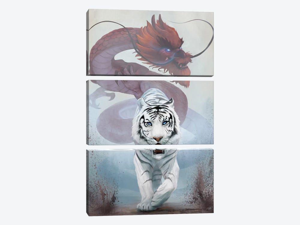 The Tiger And The Dragon by Steve Goad 3-piece Canvas Wall Art