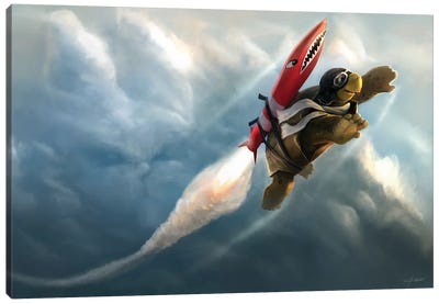 Outrunning The Clouds Canvas Art Print