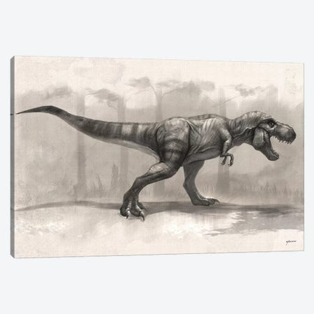 T-Rex Drawing Canvas Print #GOA54} by Steve Goad Canvas Wall Art