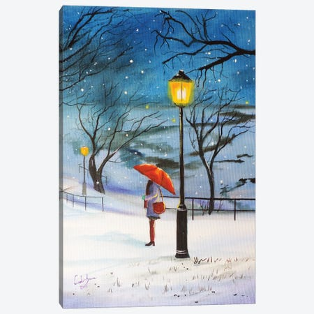 A Red Umbrella For Winter Canvas Print #GOB10} by Gordon Bruce Canvas Wall Art