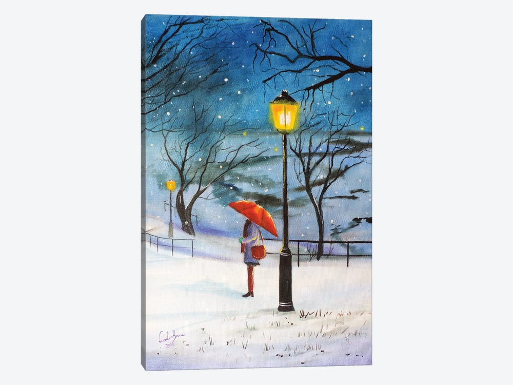 A Red Umbrella For Winter by Gordon Bruce 1-piece Canvas Wall Art
