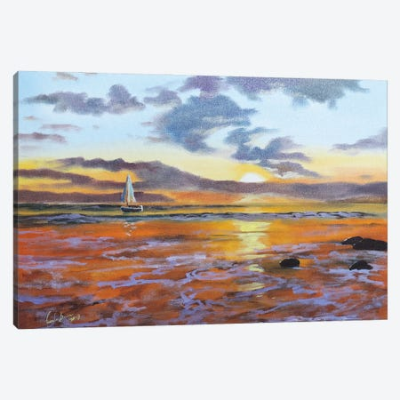 Boat On The Sea Canvas Print #GOB17} by Gordon Bruce Art Print