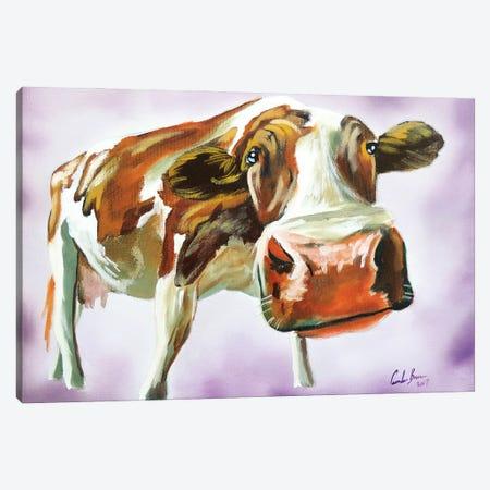 Brown & White Cow Canvas Print #GOB18} by Gordon Bruce Canvas Art