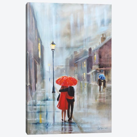 Couple With A Red Umbrella Canvas Print #GOB23} by Gordon Bruce Canvas Print