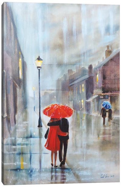 Couple With A Red Umbrella Canvas Art Print