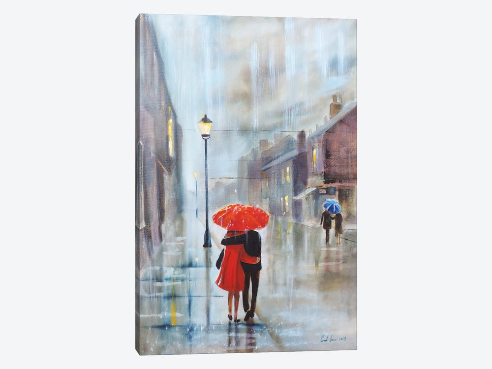 Couple With A Red Umbrella by Gordon Bruce 1-piece Canvas Wall Art