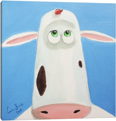 Cow And A Ladybird Canvas Art Print