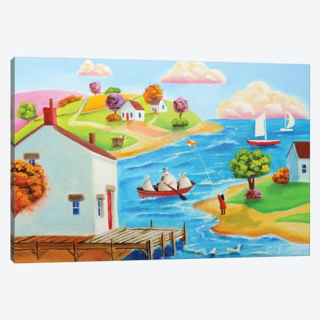 Cow And A Sheep In A Boat Canvas Print #GOB25} by Gordon Bruce Canvas Artwork