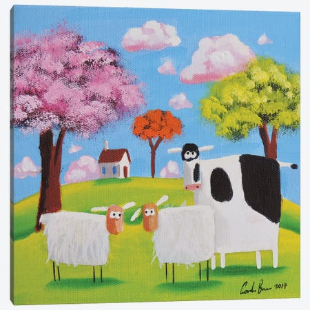 Cow And Sheep Canvas Print #GOB26} by Gordon Bruce Canvas Wall Art