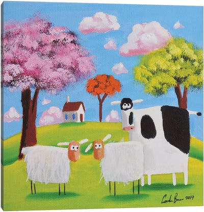 Cow And Sheep Canvas Art Print