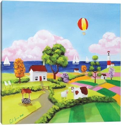 Cow, Sheep & A Balloon Canvas Art Print